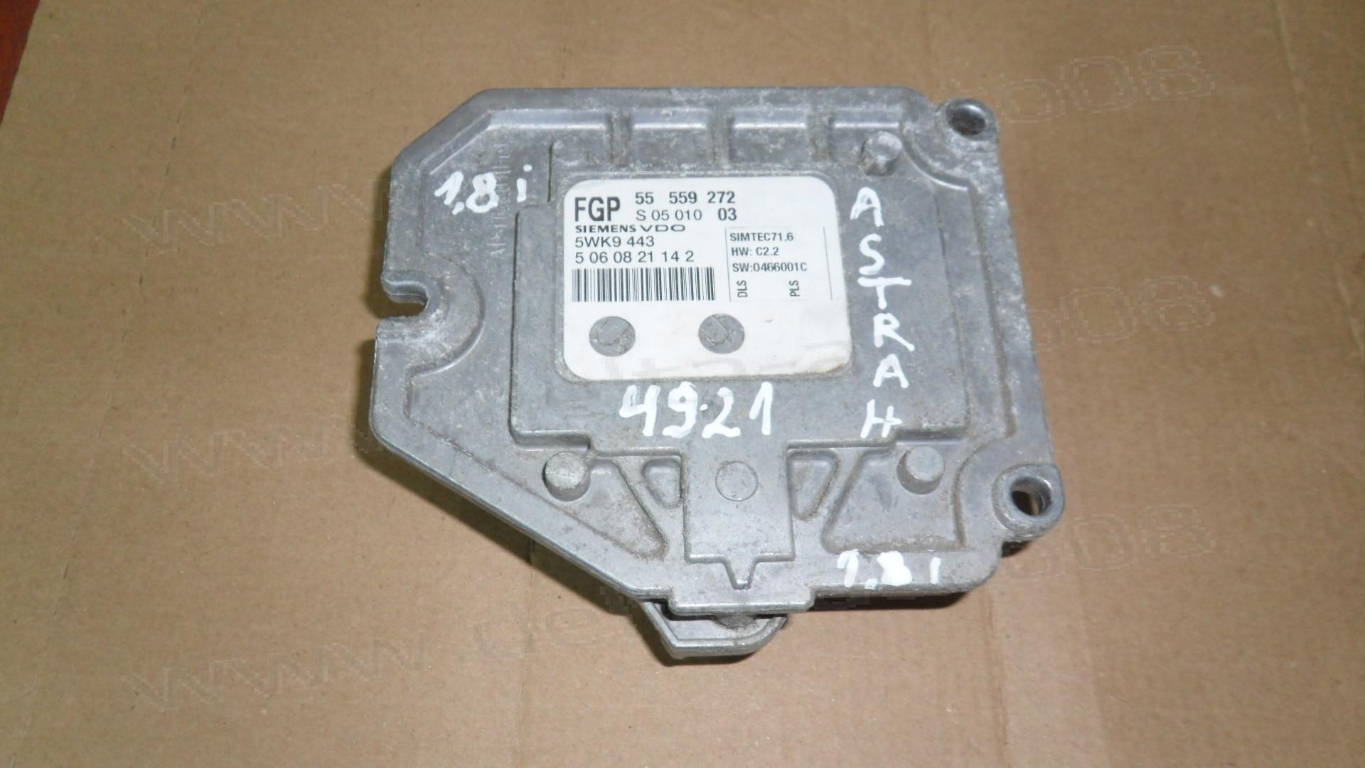 Компютър двигател за Opel Astra H 1.8i 2007г., 5WK9 443, 5WK9443, 55 559 272, 55559272, S 05 010 03, S0501003, 0446001C