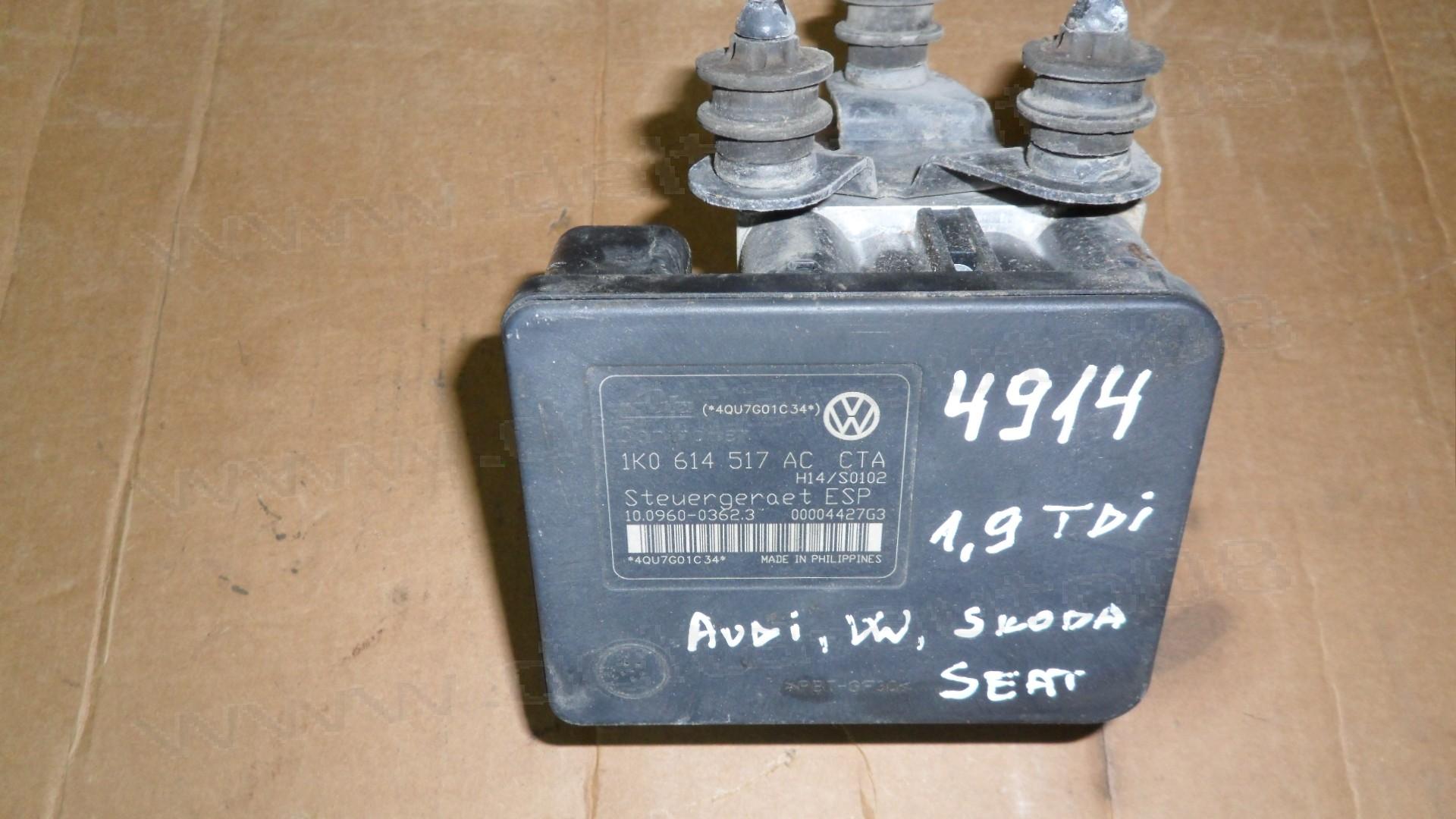 ABS помпа за Audi, Skoda, VW, Seat 1.9 TDi  2005-2010г., 1K0 614 517 AC, 1K0614517AC, 10.0960-0362.3, 10096003623, 00004427G3, 1K0614517ACCTA