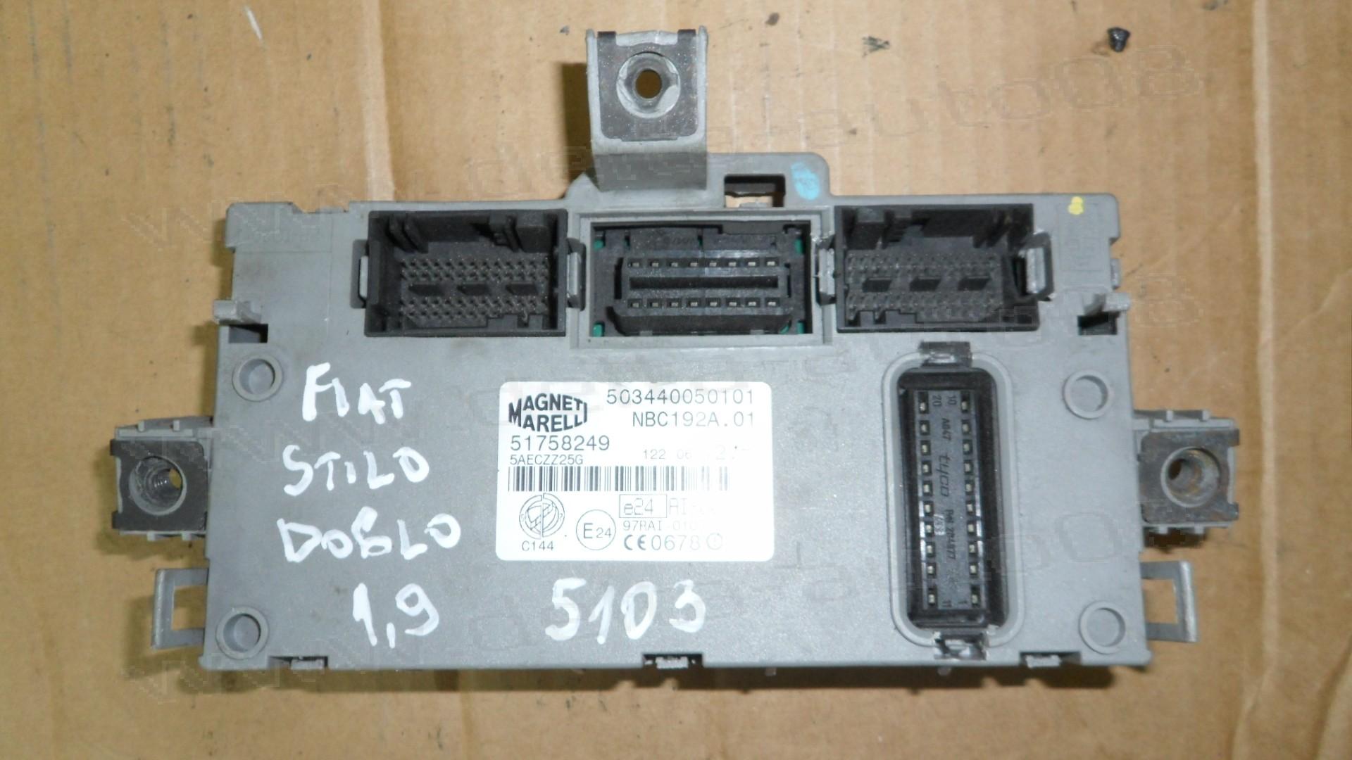 BSI модул за Fiat Stilo, Doblo 1.9 JTD  51758249, 503440050101, NBC192A.01, NBC192A01, NBC192A 01