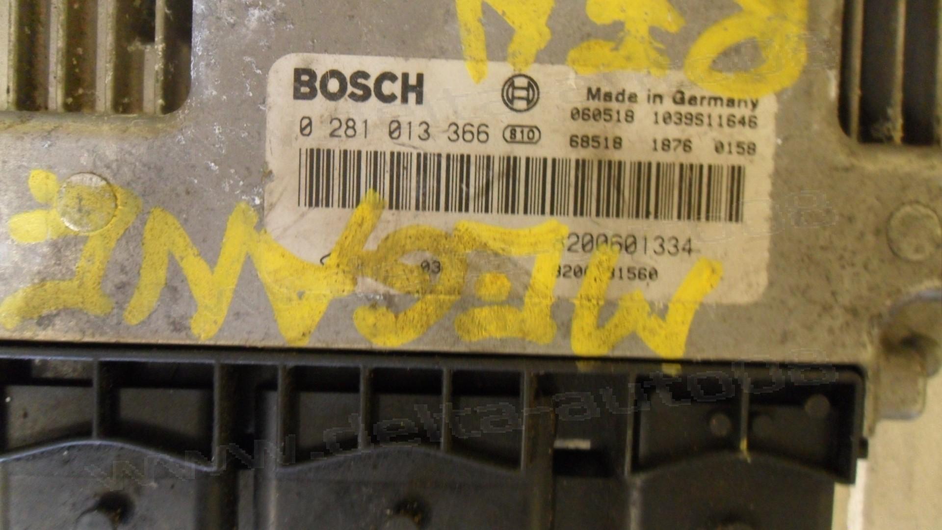 Компютър двигател за Renault Megane II, 1.9 DCI, 0 281 013 366, 0281013366, 8200601334, 1039S11646