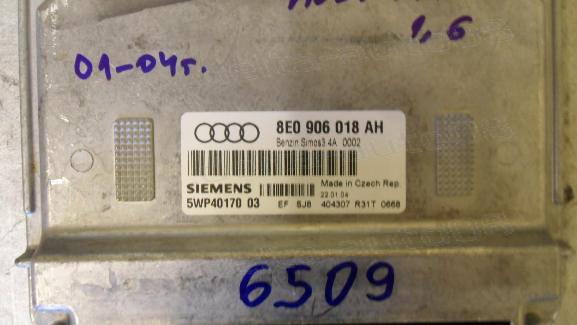 Компютър двигател за Audi A4, 1.6, 2001-2004г., 8E0 906 018 AH, 8E0906018AH, 5WP4170 03, 5WP4017003